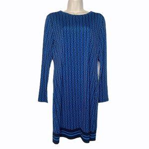 Michael Kors Blue & Black Geometric Shift Dress